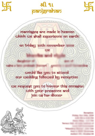 convite de casamento Hindu